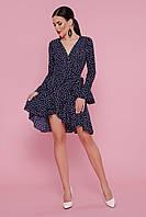 Невероятное трендовое платье в горошек с рюшами размер 42-48
