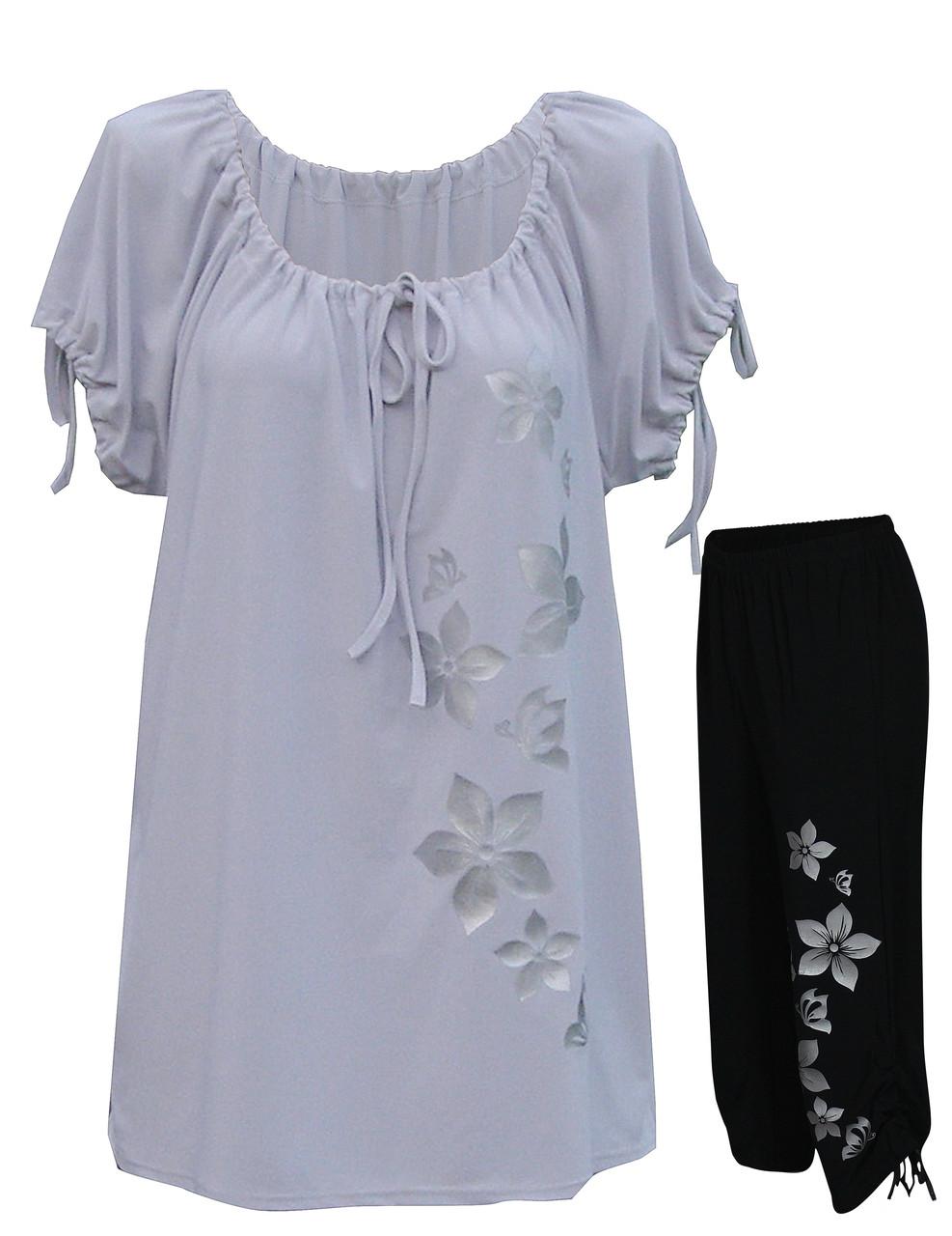 Летний костюм Цветы - туника и капри-затяжки
