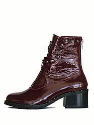 Стильные бордовые ботинки на молнии