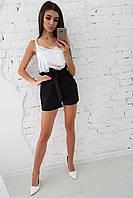 Комплект: Черные шорты с оборкой и белая шелковая майка