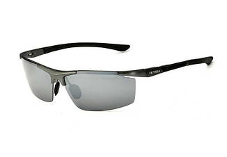 Очки мужские солнцезащитные поляризованные VEITHDIA. Зеркальные серые линзы, оправа серебро