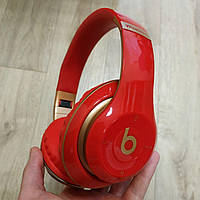 Накладные беспроводные Bluetooth наушники Beats Studio 3 by Dr. Dre Wireless красные
