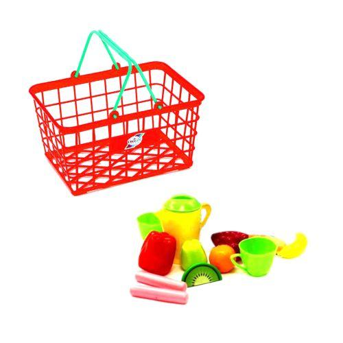 """Корзинка """"Супермаркет М"""", 12 предметов (красная) 423 в.2"""