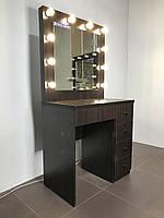 Гримерный однотумбовый комплект 800×470×800 мм. Гримерный комплект. Зеркало с подсветкой. Гримерное зеркало.