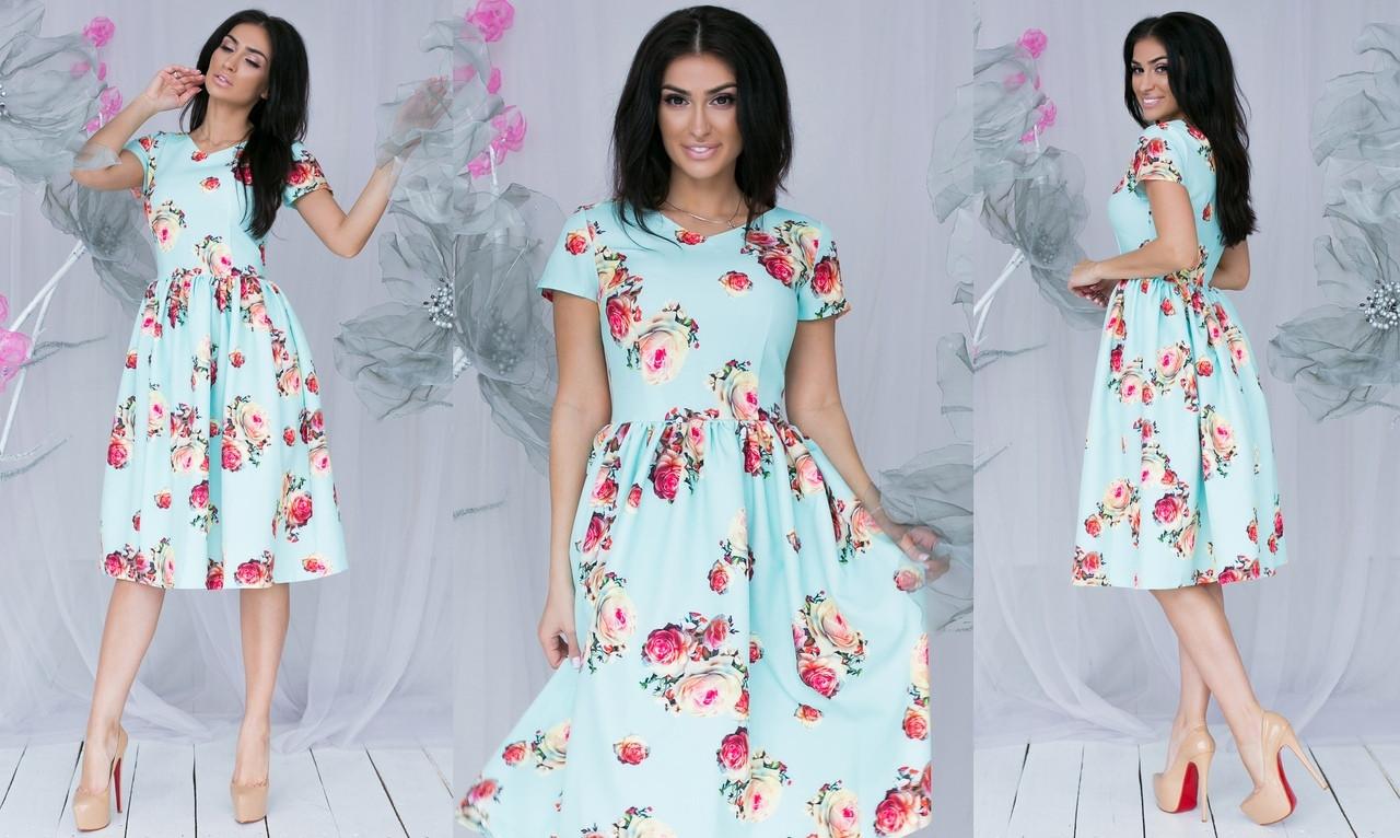 Платье  миди цветы в расцветках  701107