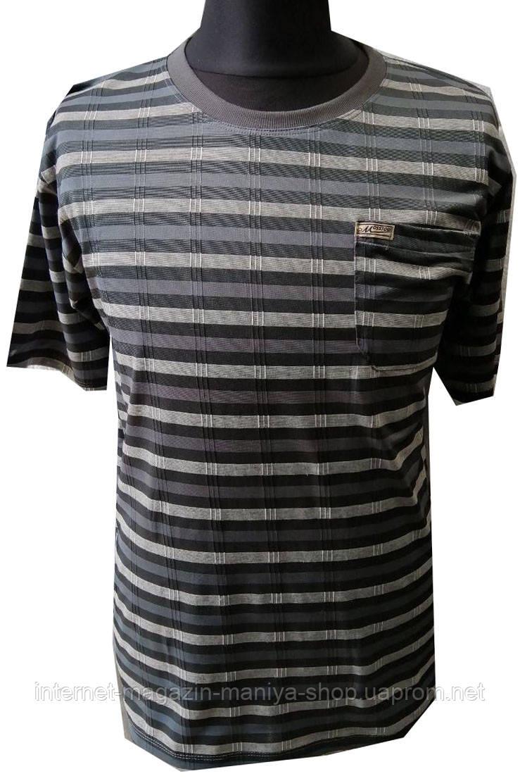 Футболка мужская круглый ворот полоски карман XL-3XL (лето)