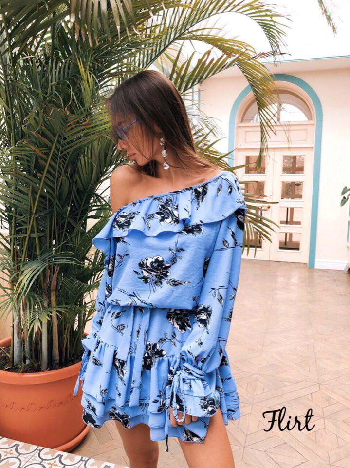 Стильное платье с воланами «Жаннет» ткань: супер Soft.  Размер: 42-46. Разные цвета (6322)