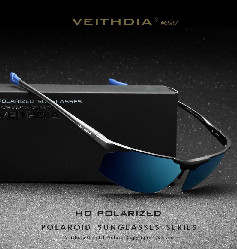 Окуляри чоловічі сонцезахисні поляризовані VEITHDIA. Сині дзеркальні лінзи, сірі дужки