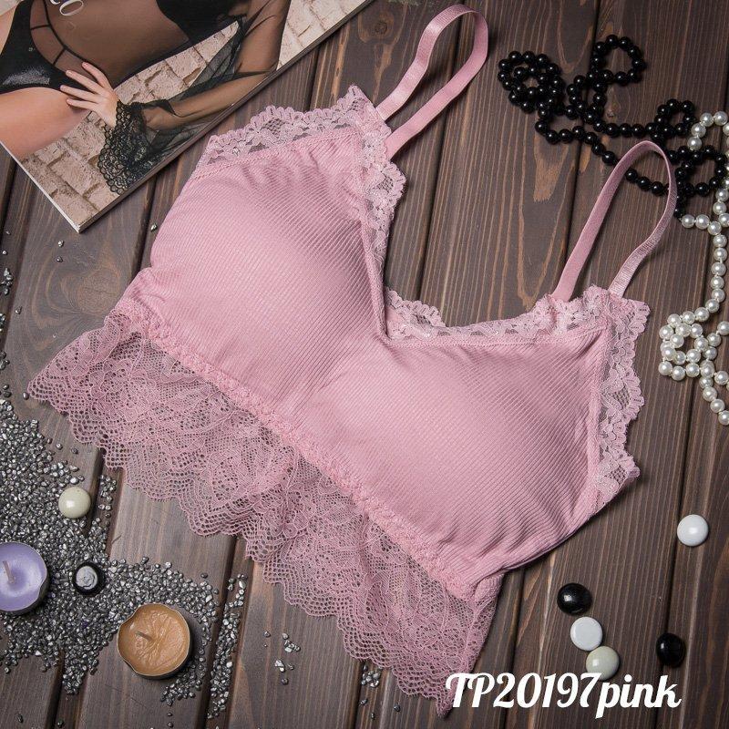 Розовый топик женский с кружевом TP20197pink