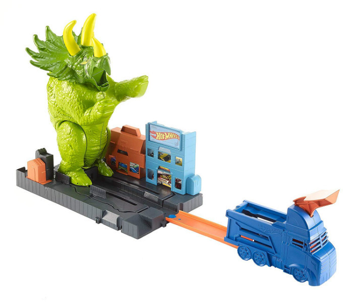 Hot Wheels Трек Город Разгневанный трицератопс GBF97 City Smashin' Triceratops Vehicle