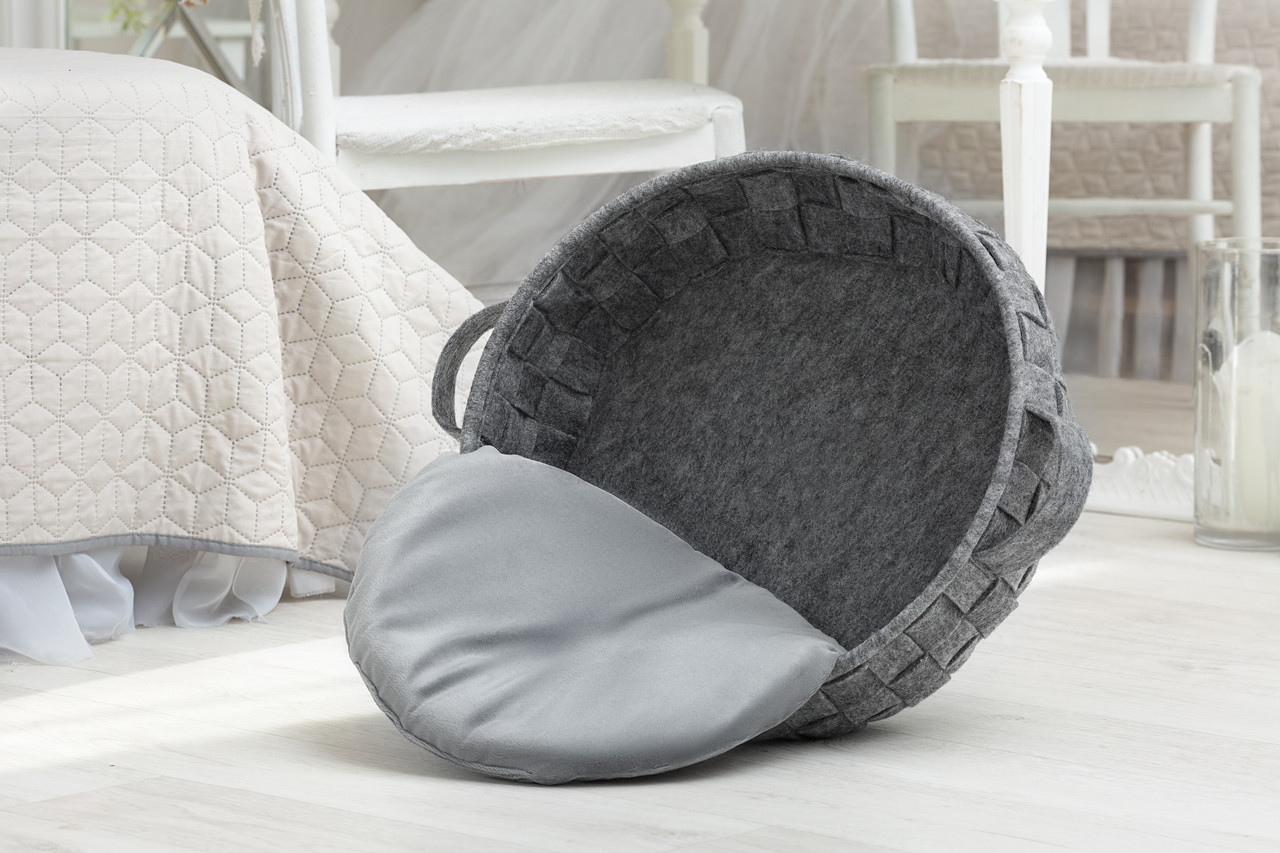 Digitalwool Кошик плетений з подушкою (Діаметр верх 45 см Діаметр низ 44 см Висота борту 15 см)