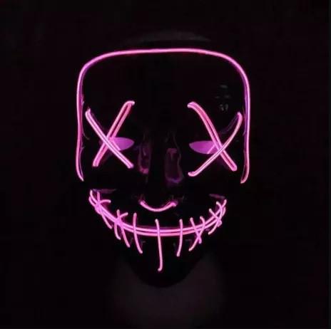 LED маска на хэллоуин (Halloween) светодиодная (Розовая) из судной ночи для хэллоуина страшная (маски на