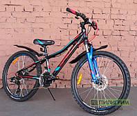 """Велосипед 24"""" Spelli Cross Boy 2019 черно-салатовый"""