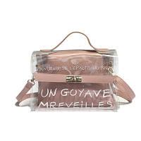 Маленькая прозрачная сумка + косметичка с надписью розовая, фото 1