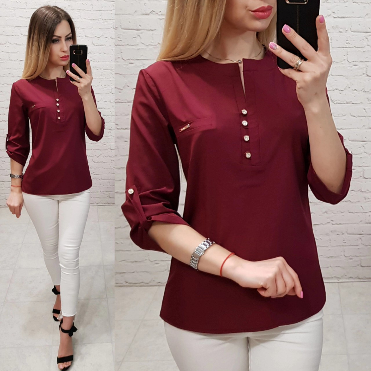 Блуза женская, софт, модель 830, в 7-ми расцветках