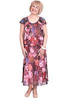 Легкое летнее платье материал шифон с цветочным принтом