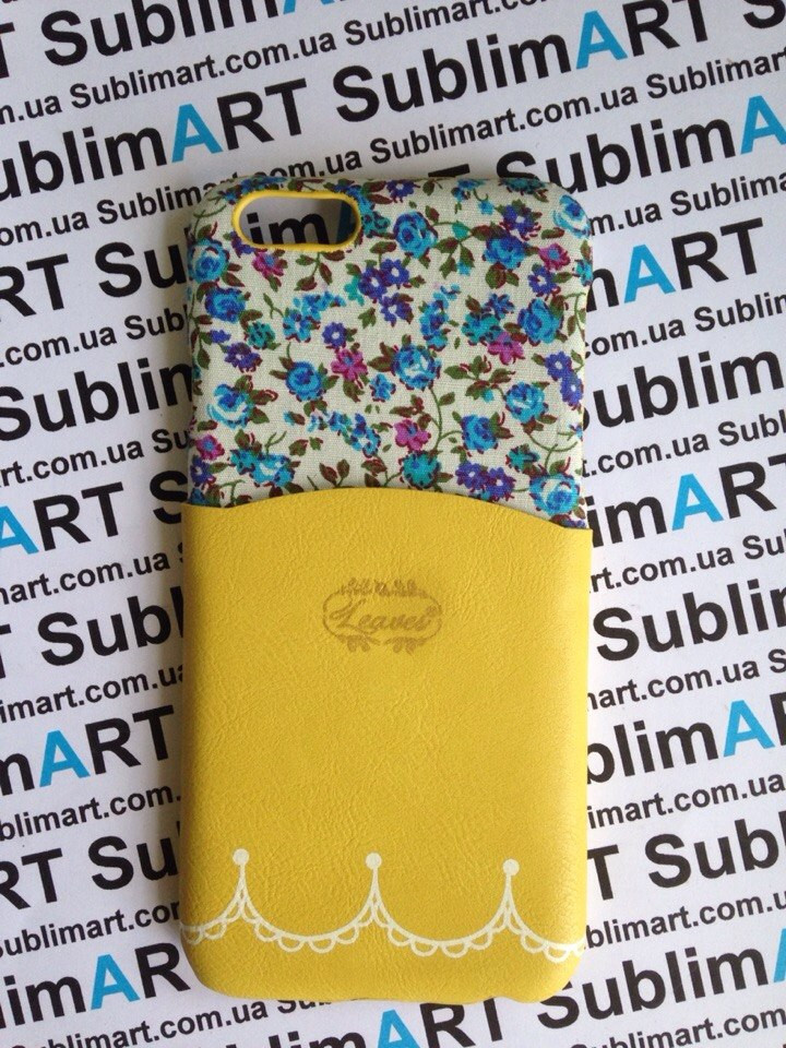 Дизайнерский чехол ручной работы для Iphone 6 (цветы с кармашком)