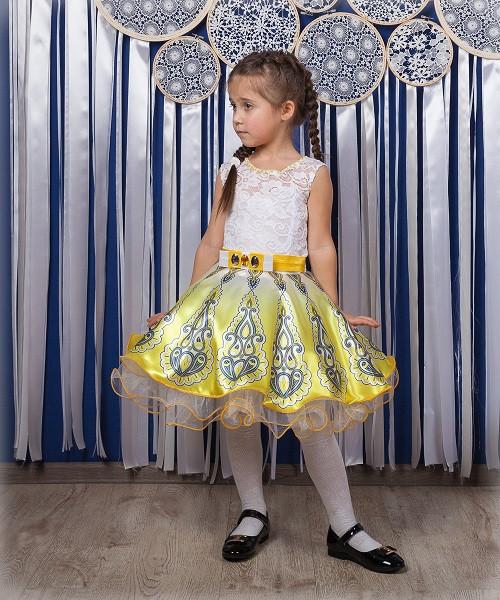 Детское нарядное платье Жасмин белый-желтый (30-34)