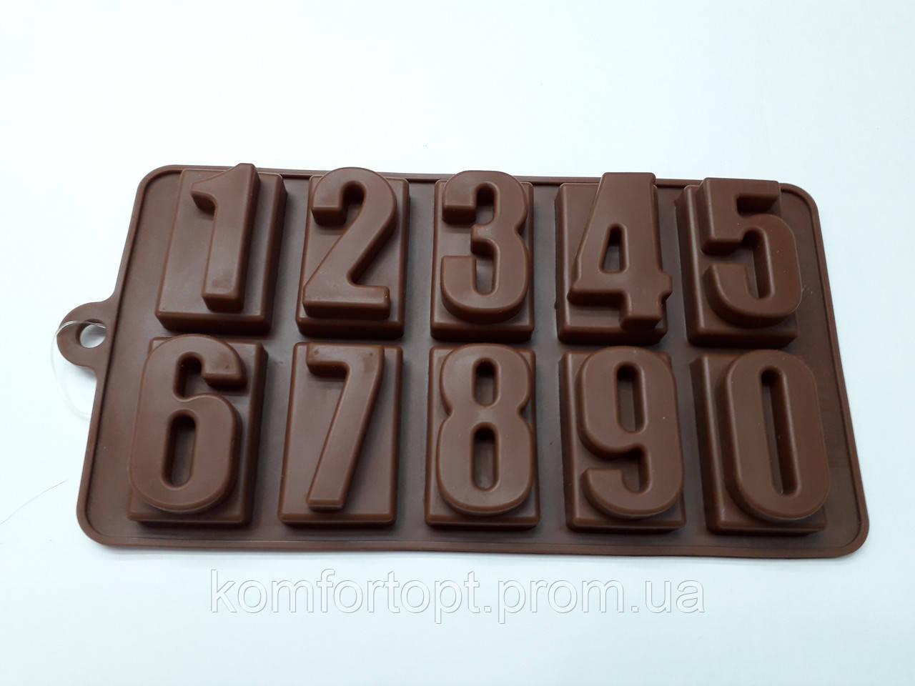 """Форма силиконовая для конфет """"Цифры""""   20см х 11см"""