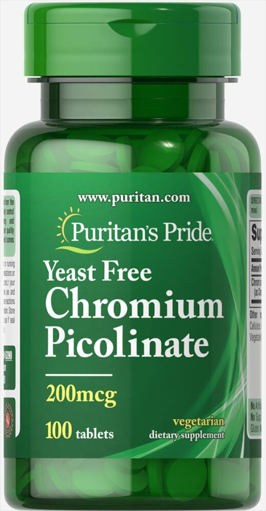 Chromium Picolinate 200 mcg Yeast Free100 Tablets