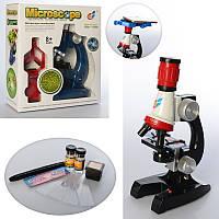 Детский игровой обучающий набор - микроскоп до 1200х, стёкла, флаконы, контейнер, свет, 2 цвета, C2135-6