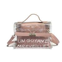 Прозрачная розовая сумка + косметичка с надписью опт, фото 1