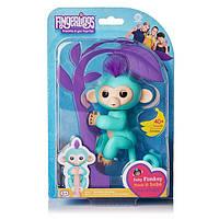 Интерактивная обезьянка Fingerlings Happy Monkey Бирюзовая
