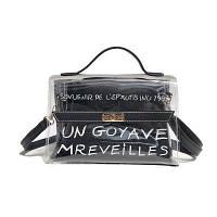 Стильная прозрачная сумка + косметичка черная с надписью