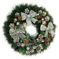 Новогодний венок - Рождественский венок d-45 см -  с серебряными бантами