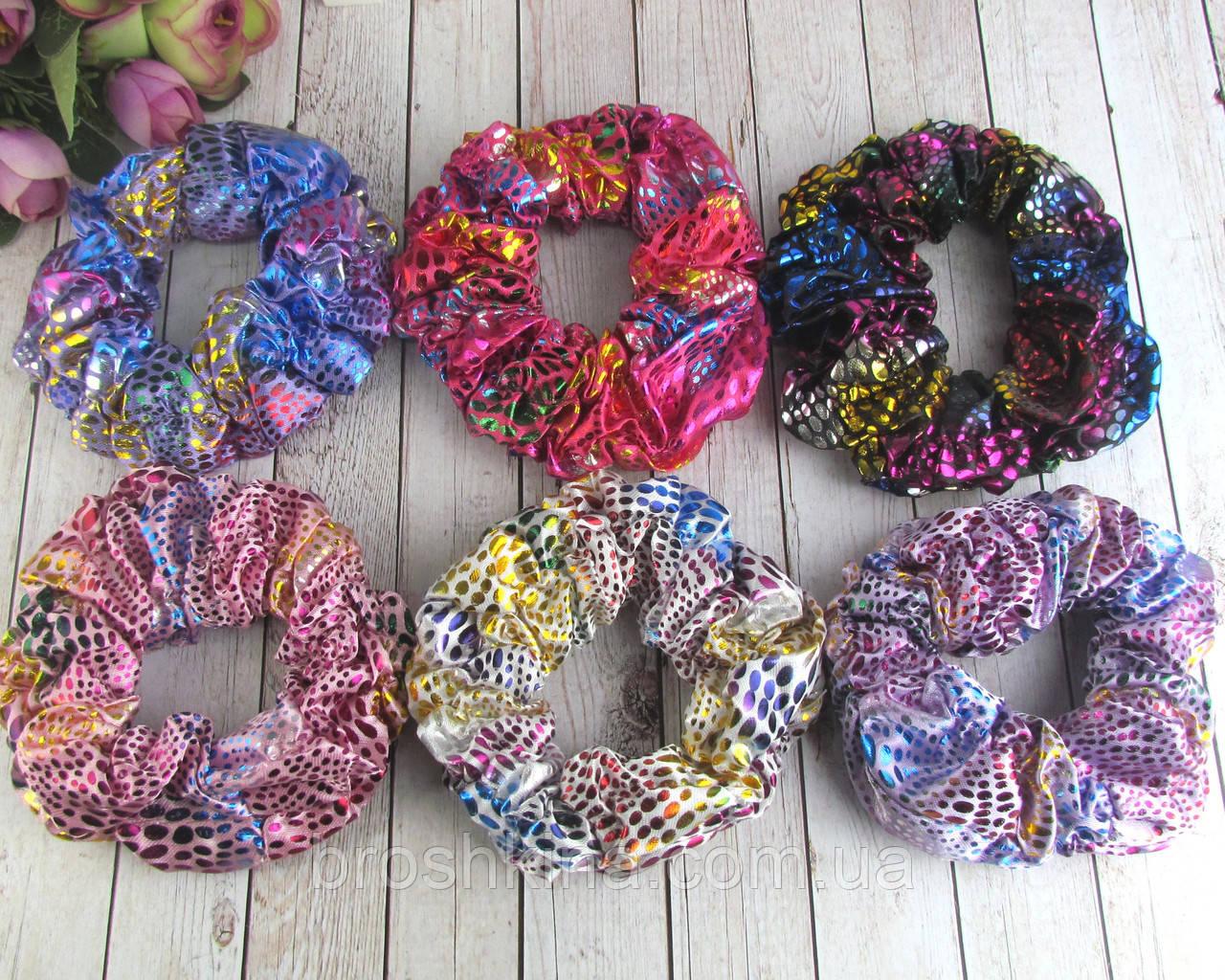 Объемные резинки для волос текстиль с накатом d 10 см 12 шт/уп.