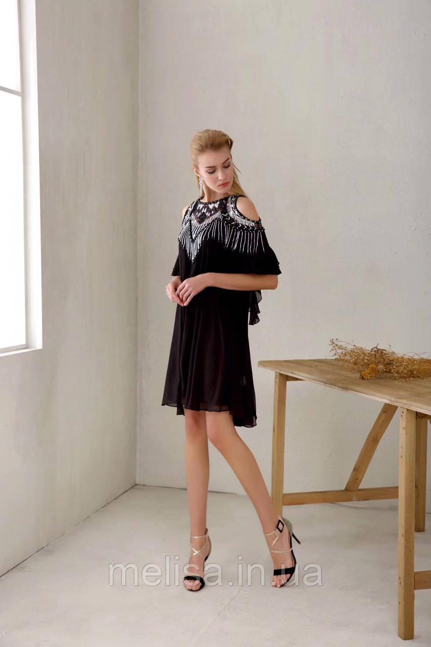 c68e15a0103 Черное Платье с Расшитыми Плечами Amodediosa — в Категории