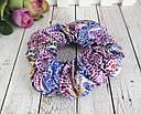 Объемные резинки для волос текстиль с накатом d 10 см 12 шт/уп., фото 2