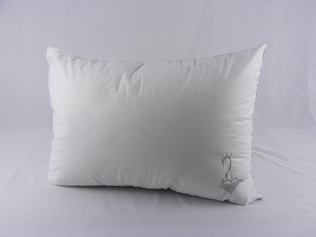 """Подушка VIVA """"Лебедь"""" 50х70, тик белый, вышивка, искусственный пух, фото 1"""