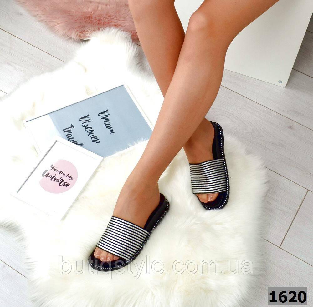 36, 37 размер Женские шлепки черные в полоску серебро, натуральная кожа на низком ходу