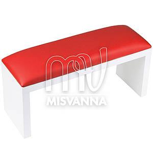 Подлокотник для маникюра на белых ножках с красной подушкой