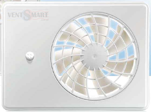 Внешний вид (фото, изображение) интеллектуального супертихого вентилятора для ванной Вентс іФан 100/125 белого цвета. Вентилятор обладает инновационным дизайном, имеет крайне малое энергопотребление, обладает высокой продуктивностью и очень малым уровнем шума.