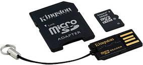 Карта памяти Kingston microSD 16GB Class 10 (MBLY10G2/16GB) + SD адаптер и кардридер