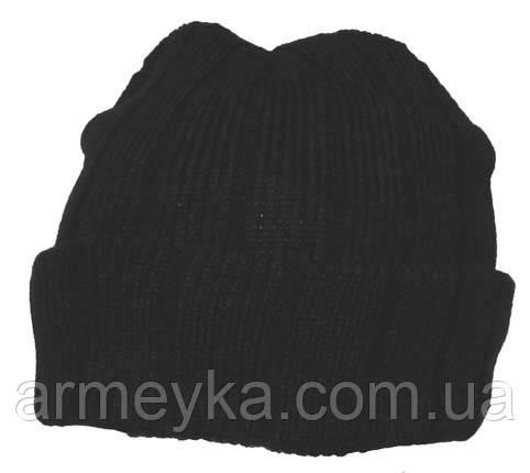 Вязанная шапка акриловая + утпеплитель Thinsulate, черная