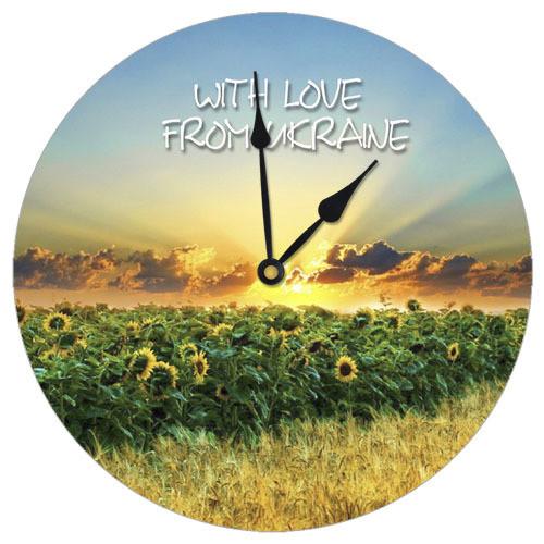 Часы настенные круглые Подсолнухи 36 см (CHR_K_UKR002)