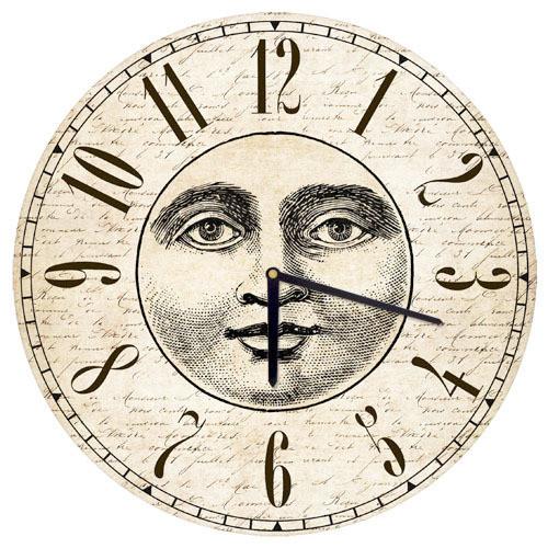 Часы настенные круглые Лицо Луны 36 см (CHR_O_15M018)