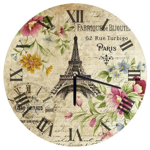 Часы настенные круглые Эйфелевая башня 36 см (CHR_O_15M035)