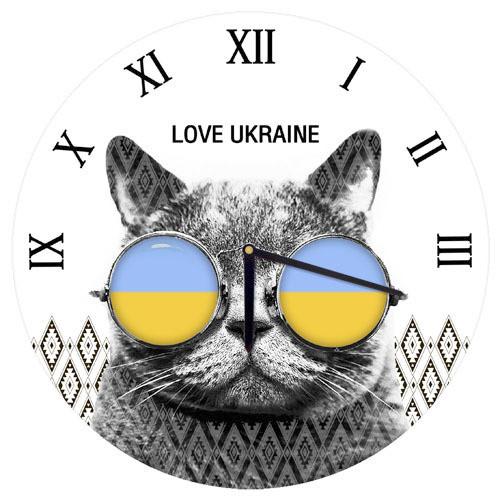 Часы настенные круглые Кот в очках 36 см (CHR_O_15M082)