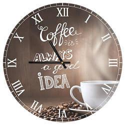 Годинники настінні круглі, 36 см Coffee (CHR_P_15M044)