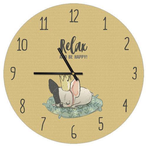 Часы настенные круглые Relax and be happy 36 см (CHR_P_DOG005)