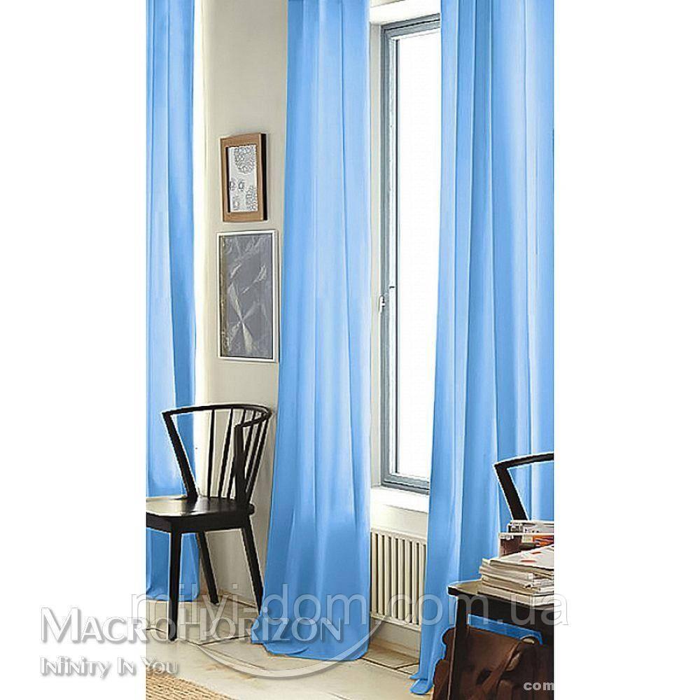 Комплект Готового Тюля Вуаль Небесно-Голубой, арт. MG-45789, Тесьма-Органза 6 см, Однотонный, 290*300 см