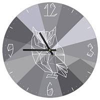 Часы настенные круглые, 36 см Геометрическая сова (CHR_P_TFL031)