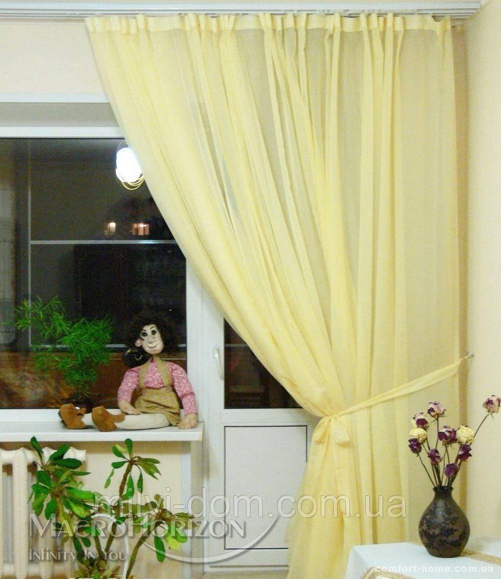 Комплект Готового Тюля Вуаль Желтый, арт. MG-67014, Тесьма-Органза 6 см, Однотонный, 290*500 см