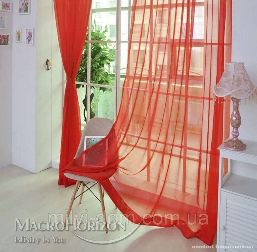 Комплект Готового Тюля Вуаль Красный, арт. MG-83477, Тесьма-Органза 6 см, Однотонный, 290*400 см