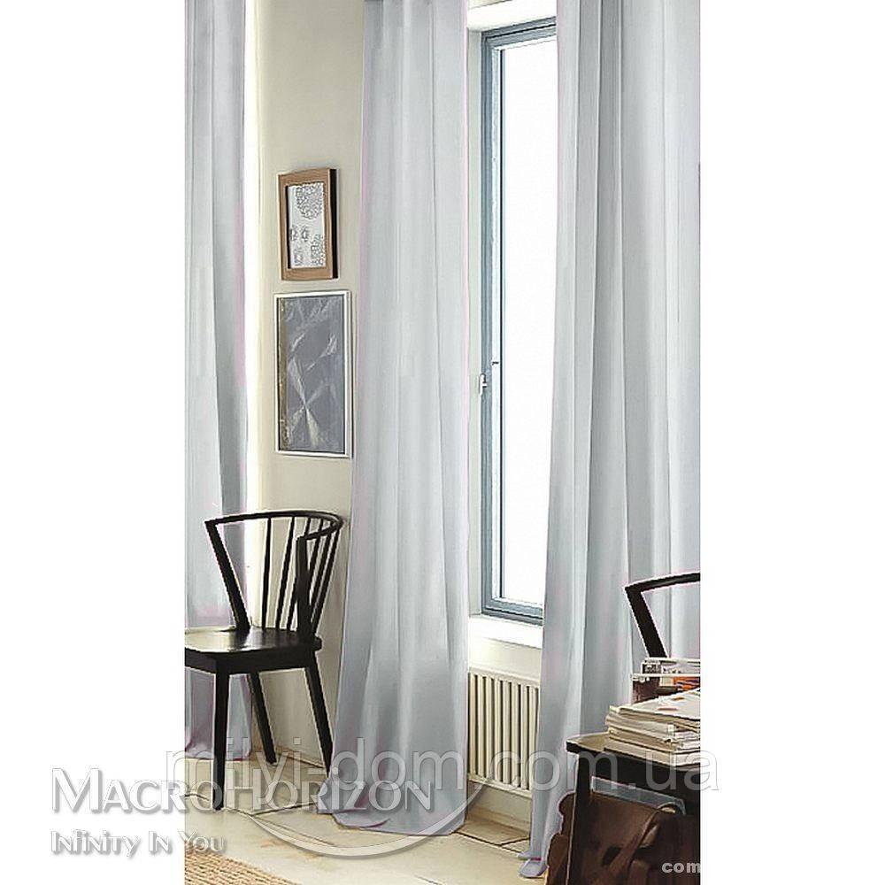 Комплект Готового Тюля Вуаль Серый, арт. MG-121504, Тесьма-Органза 6 см, Однотонный, 290*500 см
