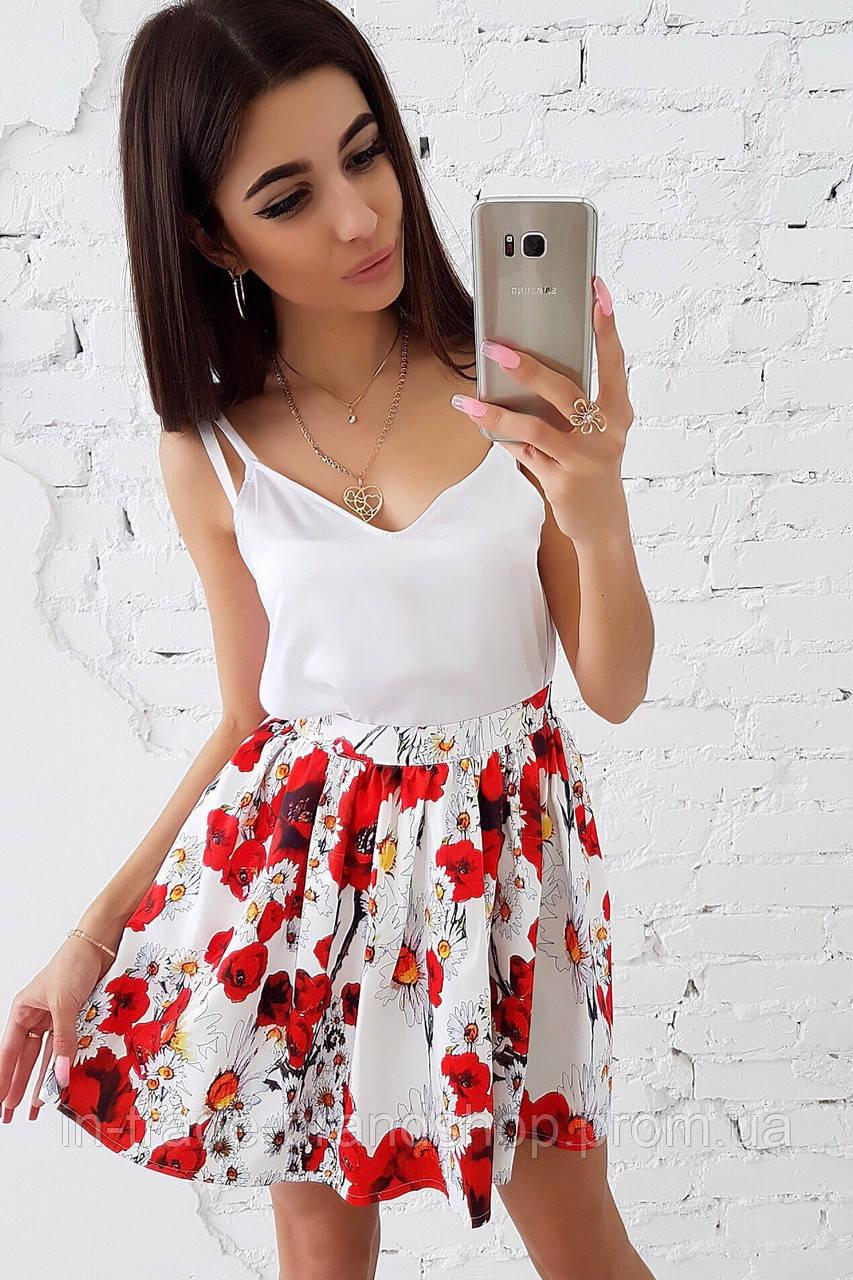 Комплект: Цветочная юбка в сборку и майка из шелка